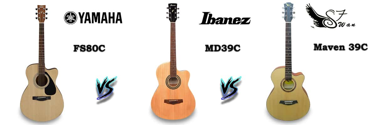 Yamaha FS80C vs Ibanez MD39C vs Swan7 39C Cutaway Acoustic Guitar