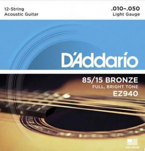 DAddario EZ940 85 15 Bronze 12 Strings Acoustic Guitar Set