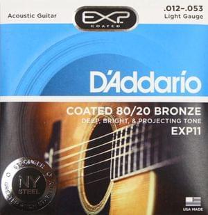 D Addario EXP11 Acoustic 80 20 12-53 Coated Guitar Strings