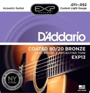 D Addario EXP13 Acoustic 80 20 11 52 Coated Guitar Strings