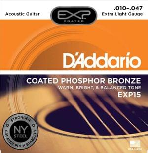D Addario EXP15 Coated Phosphor Bronze Acoustic Guitar Strings