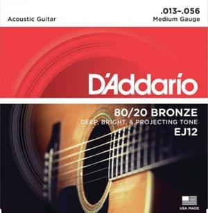 DAddario EJ12 80 20 Bronze Acoustic Guitar Strings