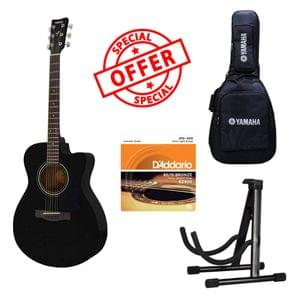 Yamaha FS100C Black Acoustic Guitar With Gig Bag DAddario Strings and Dolphin Guitar Stand Package