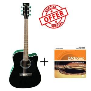 Swan7 SW41C Black Semi Acoustic Equalizer Guitar with D Addario Strings