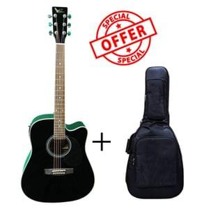 Swan7 SW41C Black Semi Acoustic Equalizer Guitar with Gigbag