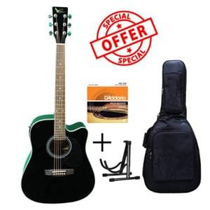 Swan7 SW41C Black Semi Acoustic Equalizer Guitar with D Addario Strings Gig Bag and Stand