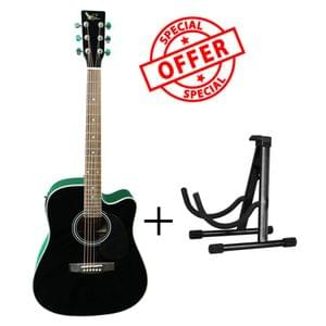 Swan7 SW41C Black Semi Acoustic Equalizer Guitar with Stand