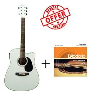 Swan7 SW41C White Semi Acoustic Equalizer Guitar with D Addario Strings