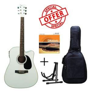 Swan7 SW41C White Semi Acoustic Equalizer Guitar with D Addario Strings Gig Bag and Stand