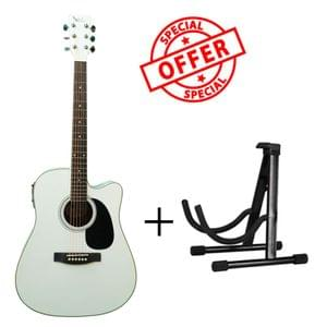 Swan7 SW41C White Semi Acoustic Equalizer Guitar with Stand