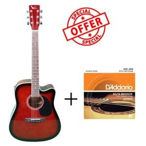 Swan7 SW41C Wine Red Semi Acoustic Equalizer Guitar with D Addario Strings