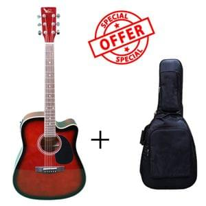 Swan7 SW41C Wine Red Semi Acoustic Equalizer Guitar with Gigbag