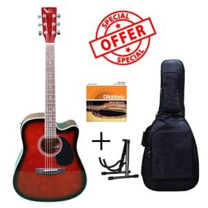 Swan7 SW41C Wine Red Semi Acoustic Equalizer Guitar with D Addario Strings Gig Bag and Stand