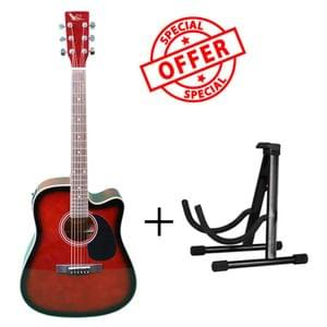 Swan7 SW41C Wine Red Semi Acoustic Equalizer Guitar with Stand