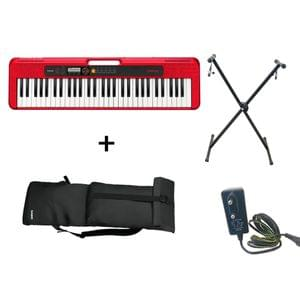 Casio CT S200 Red Keyboard Combo Package with Carrying Bag Stand and Adaptor