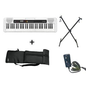 Casio CT S200 White Keyboard Combo Package with Carrying Bag Stand and Adaptor