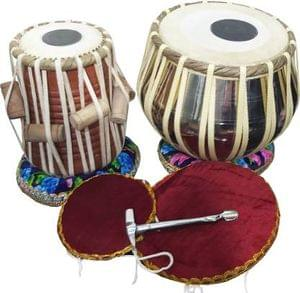 DevMusical Brass Engraved Dugga With Sheesham Wood Tabla