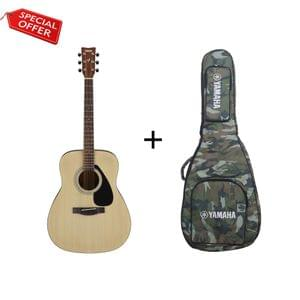 Yamaha F280 Natural Acoustic Guitar with Military Gig Bag Combo Package