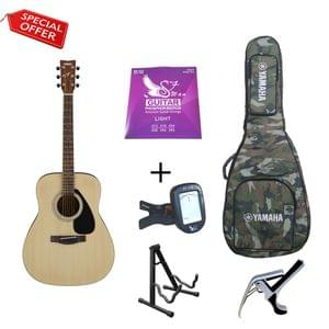 Yamaha F280 Guitar with Military Gig Bag Strings Tuner Capo and Stand Combo Package