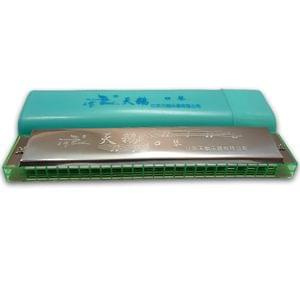 Swan7 SW24H-SLV Key C 24 Hole 48 Reed Silver Harmonica Mouth Organ with Blue Case