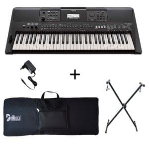 Yamaha PSR E463 Portable Keyboard with Adaptor Bag and Stand Combo Package