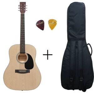 Belear K-610NAT 41 Inch Natural Dreadnought Acoustic Guitar With Bag, and Picks