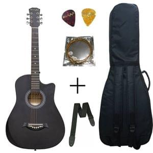Belear I-280-CBLK Couturier 38 Inch Black Cutaway Acoustic Guitar With Bag ,String , Strap and Picks