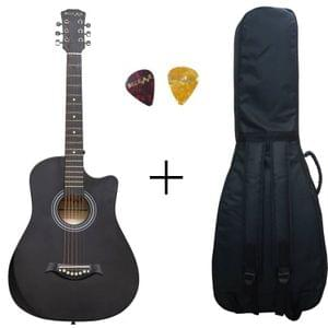 Belear I-280-CBLK Couturier 38 Inch Black Cutaway Acoustic Guitar With Bag and Picks