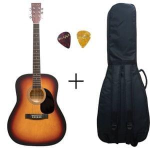 Belear K-610SSBM Vega 41 Inch Satin Sunburst Dreadnought Acoustic Guitar With Bag and Picks