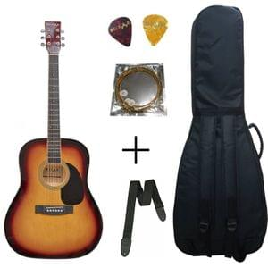 Belear K-610SSB Vega 41 Inch Tobacco Brown Sunburst Dreadnought Acoustic Guitar With Bag, Strap , String and Picks