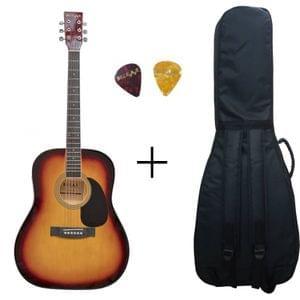 Belear K-610SSB Vega 41 Inch Tobacco Brown Sunburst Dreadnought Acoustic Guitar With Bag and Picks