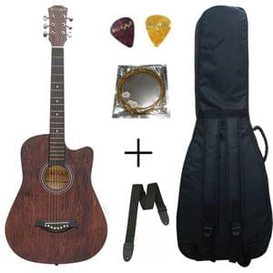 Belear I-280-WBR Couturier 38 Inch Brown Cutaway Acoustic Guitar With Bag, Strap, String and Picks