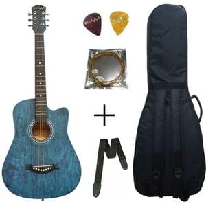 Belear I-280-WBL Couturier 38 Inch Blue Cutaway Acoustic Guitar With Bag , Strap String and Picks