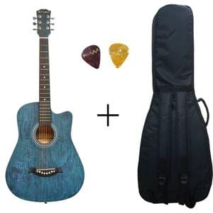 Belear I-280-WBL Couturier 38 Inch Blue Cutaway Acoustic Guitar With Bag , and Picks