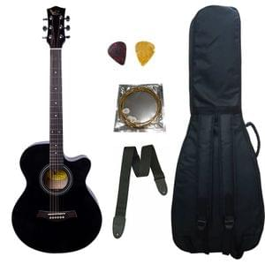Swan7 40C Maven Series Spruce Wood Black Glossy Acoustic Guitar With Bag,Strap,String and Picks