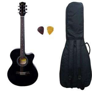 Swan7 40C Maven Series Spruce Wood Black Glossy Acoustic Guitar With Bag, and Picks