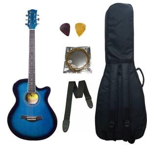 Swan7 40C Maven Series Spruce Wood Blue Glossy Acoustic Guitar With Bag,Strap,String, and Picks