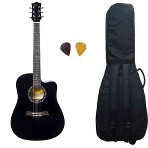 Swan7 41C Maven Series Spruce Wood Black Glossy Acoustic Guitar With Bag and Picks