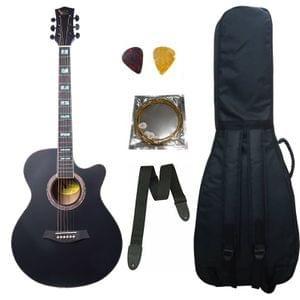 Swan7 40C Semi-Acoustic Guitar -Black Matt Maven Series with Equalizer With Bag, String ,Strap and Picks