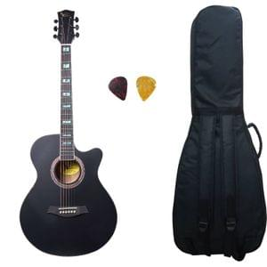 Swan7 40C Semi-Acoustic Guitar -Black Matt Maven Series with Equalizer With Bag and Picks