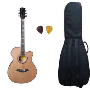 Swan7 40C Semi Acoustic Guitar Natural Matt Maven Series with Equalizer With Bag and Picks
