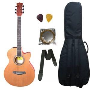Swan7 40C Maven Series Spruce Wood Brown Matt Acoustic Guitar With Bag ,String ,Strap and Picks
