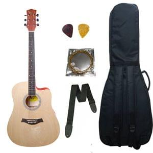 Swan7 41C Maven Series Spruce Wood Natural Matt Acoustic Guitar With Bag String Strap and Picks