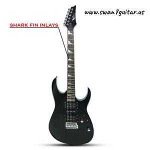 Swan7 S370 Double Cutaway 6 String Black Electric Guitar